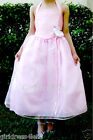PINK ORGANZA HALTER EASTER PARTY WEDDING PAGEANT FLOWER GIRL DRESS 4 6 8 10