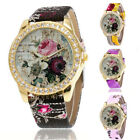 Womens Fashion Rose Pattern Faux Leather Band Analog Quartz Watch Wristwatches