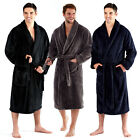 Harvey James Mens Luxury Super Soft Robe Cosy Shawl Collar Fleece Dressing Gown