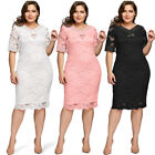 Plus Size Bodycon Women Lace Half Sleeve Summer Casual Evening Party Midi Dress