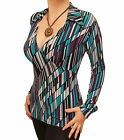NEUF RAYURES COL V col chemise haut extensible