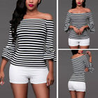Fashion Women's Off Shoulder Flared Sleeve Striped T Shirt Tee Blouse Top S/M/L