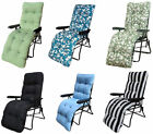 Garden Sun Lounger Multi Position Reclining Relaxer Chair + Thick Comfy Cushion