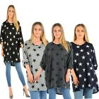 Ladies Batwing Stars Print High Low Oversize Baggy Tunic Elasticated Cuff Top