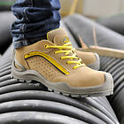 Safetoe Safety Shoes Mens Work Boots Steel Toe Yellow Leather Breathable US Size