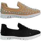 NEW WOMENS CASUAL LIGHT WEIGHT STUDDED SLIP WALKING COMFORT PUMPS TRAINERS SIZE