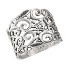 New Wide .925 Sterling Silver Filigree Ring - Sizes 6-10