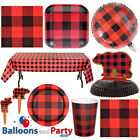 Buffalo Plaid Red Check Lumber Jack Party Tableware Decorations Supplies