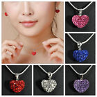 Beautiful Heart Plated Charm Crystal Necklace Jewellery Pendant Chain Love Gift