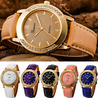 Fashion Women Geneva Crystal Stainless Steel Leather Quartz