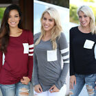 Women Plain T-shirt Tops O-Neck Fashion Loose Long Sleeve Blouses Soft Solid NEW