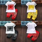 Kid Boy Girl Letter Star Print Plaid T Shirt Tops+Pants Outfits Clothes 2PC/Set