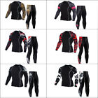 Mens Sports Tights Set Running Top & Pants Gym Fitness Clothes Tights Sport Wear