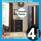 XeoHome® Mirror High Gloss 3 Piece Bedroom Furniture Set-Wardrobe Chest Bedside