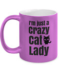 Metallic Colored Crazy Cat Lady Coffee Cup Mug Purple - Funny Cat Mug For Her, F