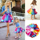 Mother And Daughter Women Girls Rainbow Tutu Skirt Princess Dance Dress Party US