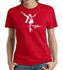 MICHAEL JACKSON RED WOMENS T SHIRT MUSIC POP 80s KING DANCE HAT ROCK RETRO