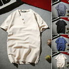 Men V Neck Button Down Solid Linen T Shirt Short Sleeve Shirts Tops Tee Comfort