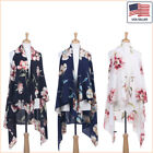 New Women Fashion Floral Printed Chiffon Open Front Sleeveless Vest - 30035