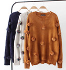 Womens Sweaters Pullover Fur Ball Crewneck Knitted Blouses Tops Casual Warm Chic