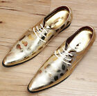 Fashion Mens British Lace Up Pointed Toe Wedding Groom Shoes Faux Leather Dress