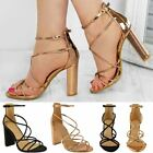 Womens Ladies Strappy Sandals Block High Heels Ankle Strap Party Shoes Prom Size