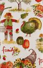 Autumn Harvest Family Friends Vinyl Flannel Back Tablecloth Assorted Sizes