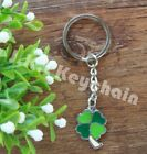 Lot Clover green leaf lucky Metal pendant Keychain Key ring kids gift