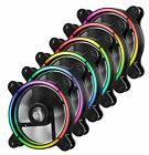 Unique HALO Arc shaped Frame LED Case Fan 6 Pack with control box UCTBRGB12 BP6