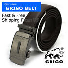 Men's Designer Leather Dress Brown Belt Sliding Ratchet Automatic Click Buckle