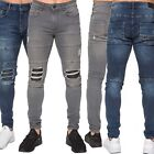 New Enzo Mens Super Skinny Jeans Stretch Ripped Denim Trousers Blue Grey