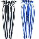 Ladies High Waist Belted Tie Paperbag Stretch Striped Cigarette Pants Trousers