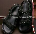 Mens Spike Punk Summer Punk Loafer Ankle Strap Leather Beach Rivet Shoes size