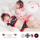 YUMETENBO Heart Cut Puff Ruffled Bikini Swimwear Lolita Cute Sea Beach
