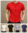 Chinese Tradition Men's Kung-Fu Cotton Linen Short Sleeve Shirt Tang