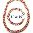 Pure Solid Copper Men Cuban Chain Curb Link Bracelet Necklace Arthritis Pc06