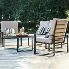 4 Piece Coffe Table And 4 Persons Chairs Set Cushion Garden Tea Snack Furniture