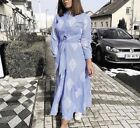 ZARA BLUE WHITE STRIPPED EMBROIDERED TUNIC MIDI SHIRT DRESS WITH BUTTON 3440/045