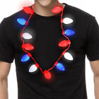 1pk/5pk/10pk USA String Lights Necklace Red White Blue Holiday Party LED Bulbs