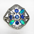Rainbow Play Of Color Opal 925 Sterling Silver Ring UOYJ-3
