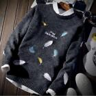 Mens Crewneck Knitting Loose Fit Blouse Warm Sweater Printing Floral Casual Fall