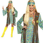 60s Hippie Chick Costume Womens Ladies Adult Hippy Fancy Dress Outfit