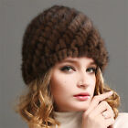 Russian Women Mink Fur cap Luxury knit mink fur hat winter Lady fur hat US
