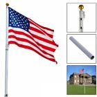 16ft Aluminum Telescopic Flagpole Flag Pole Outdoor Garden Solid Construction US
