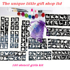 GLITTER TATTOO KIT 120 stencil 8 glitter superhero princess boy girl OR REFILLS
