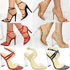 Womens Sexy Clear High Heel Sandals Perspex Strappy Party Barely There Pointed