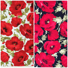 Large Poppies 100% cotton fabric black or ivory per 1/2M for dressmaking & craft