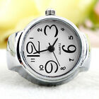 Romantic Crystal Analog Quartz Finger Wrist Watch Couple Stainless Steel Band Ring Watches - 173698