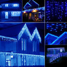 96-1000 LED Christmas Trick Light Fairy Indoor/Outdoor Icicle Curtain Lamp Blue