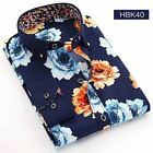 Men New Fashion Floral Printed Long Sleeve Spring Wear Shirt